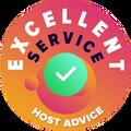 """Nós tiramos um tempo para verificar de forma pessoal e anônima todos os serviços ao cliente das empresas.  O """"Distintivo de excelência"""" foi atribuído a empresas de hospedagem que cumpriram os elevados padrões da HostAdvice de atendimento ao cliente, o que implica que o serviço provou ser rápido, eficiente, perspicaz e, acima de tudo, útil."""